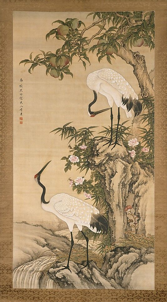 Cranes peach tree and chinese roses after shen nanpin for Dynasty mural works