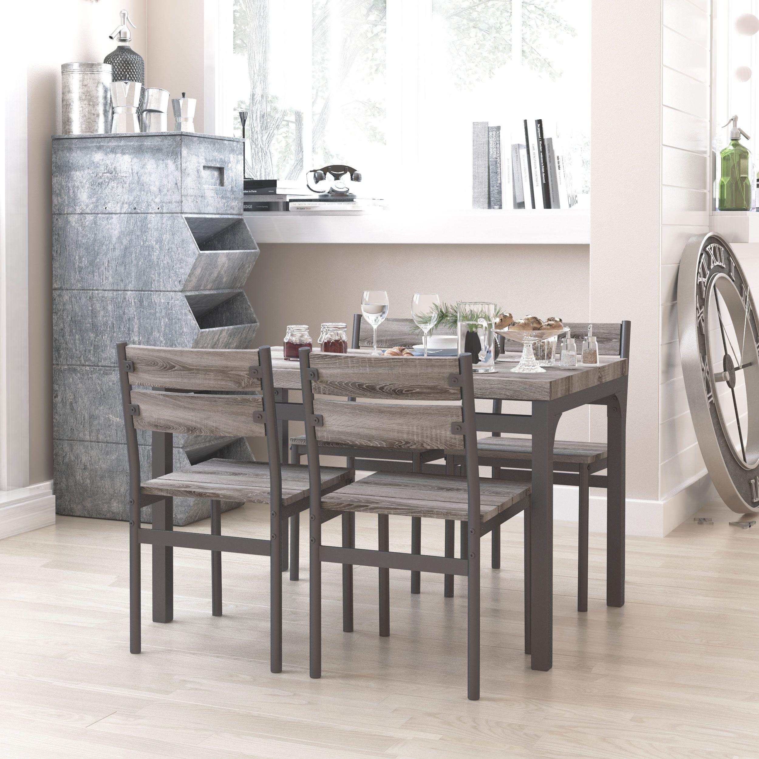 Zenvida 5 Piece Dining Set / Breakfast Nook, Table and 4 Chairs, Rustic Grey - Walmart.com in ...