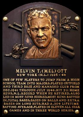 Mel Ott Baseball Star Giants Baseball Hall Of Fame