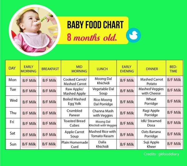 Food Chart For An 8 Month Old Baby - Tinystep