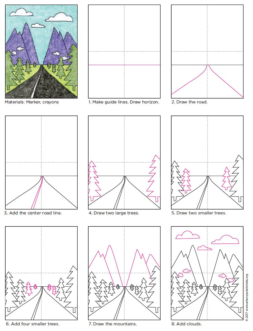 How to Draw a Perspective Landscape · Art Projects for Kids   Elementary  art [ 1053 x 805 Pixel ]