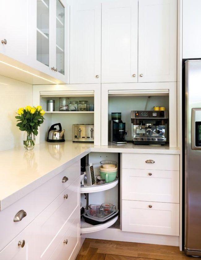 ideen elektrogeräte küchenzeile ecke faltbare türen schrank - kleine küchenzeile mit elektrogeräten