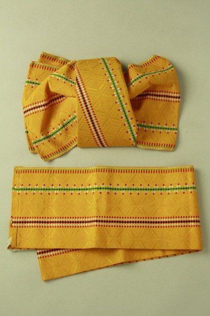 Yamabuki color, 2 section tsukuri obi / 山吹色地 変わり縞柄 化繊二部式つくり帯#Kimono #Japan http://global.rakuten.com/en/store/aiyama/