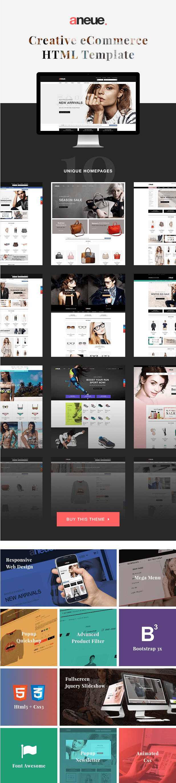 Aneue - Creative eCommerce HTML Template   eCommerce, Template and ...