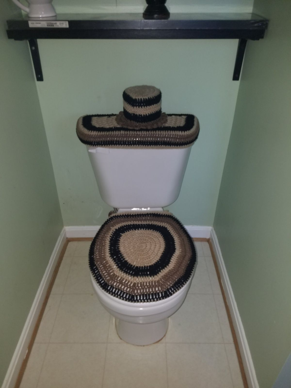 3 Pieces Crochet Handmade Bathroom Set Toilet Seat Cover