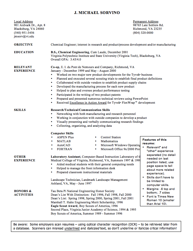 sample cv of chemical engineer resume httpexampleresumecvorgsample