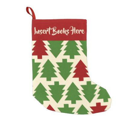 Insert Books Here Small Christmas Stocking Red Gifts Color Style