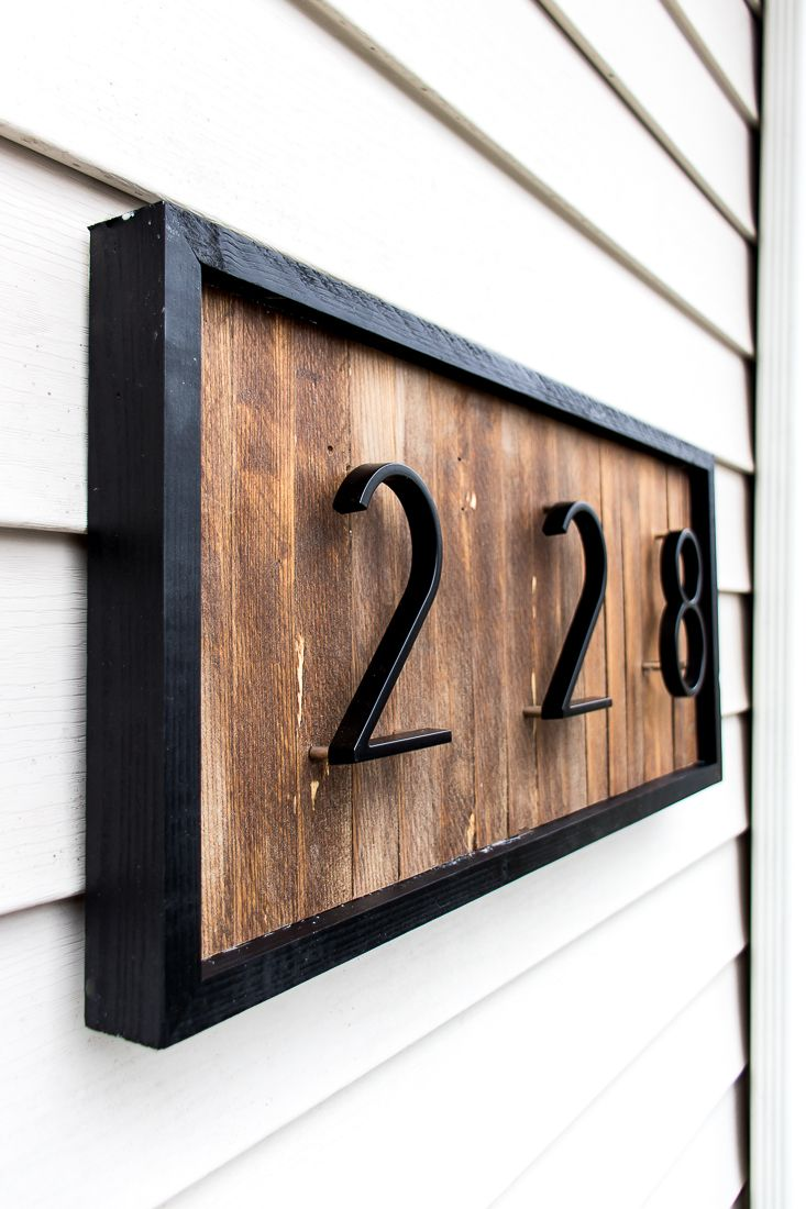 DIY Modern House Number Sign with Wood Shims House