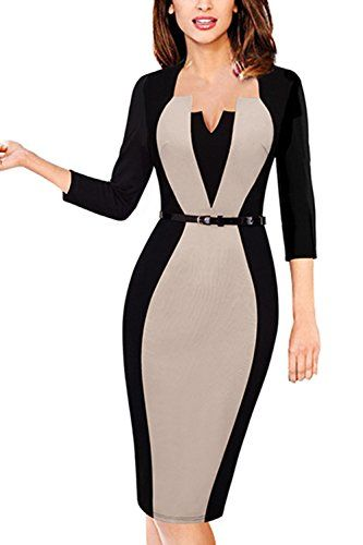 MisShow Damen V Ausschnitt Business Kleid Partykleid Pencil ...