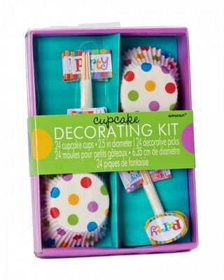 dots stripes cupcake decorating kit 24 ct Rainbow Birthday Party