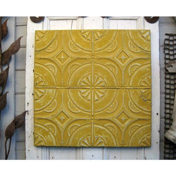Vintage Ceiling Tin Tile Framed Antique Architectural Salvage Gold... ($59) ❤ liked on Polyvore featuring home, home decor, wall art, grey, home & living, home décor, wall décor, wall hangings, metal wall hanging and matte painting