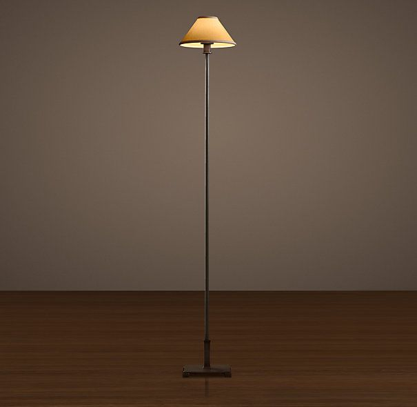 Petite candlestick floor lamp aged steel with linen shade restoration hardware