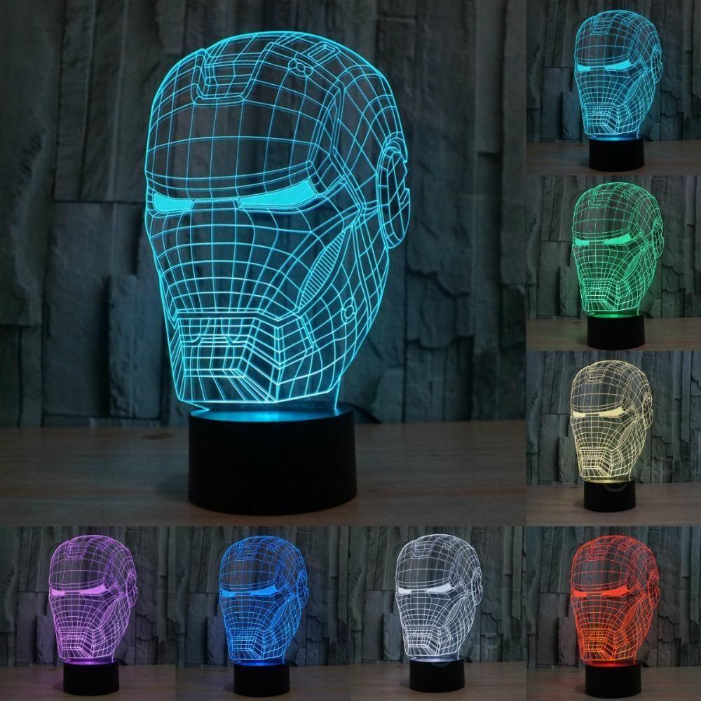 Iron Man Mask 3d Illusion Led Lamp 3d Led Lamp Lamp Decor Iron Man Mask