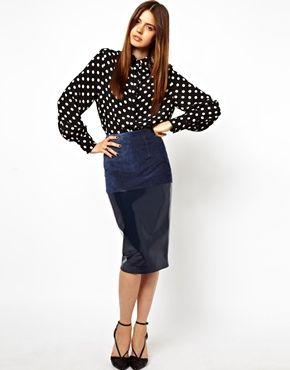 ASOS Pencil Skirt in Leather and Suede Mix полнейший и тотальный абсолютный мастхэв!!
