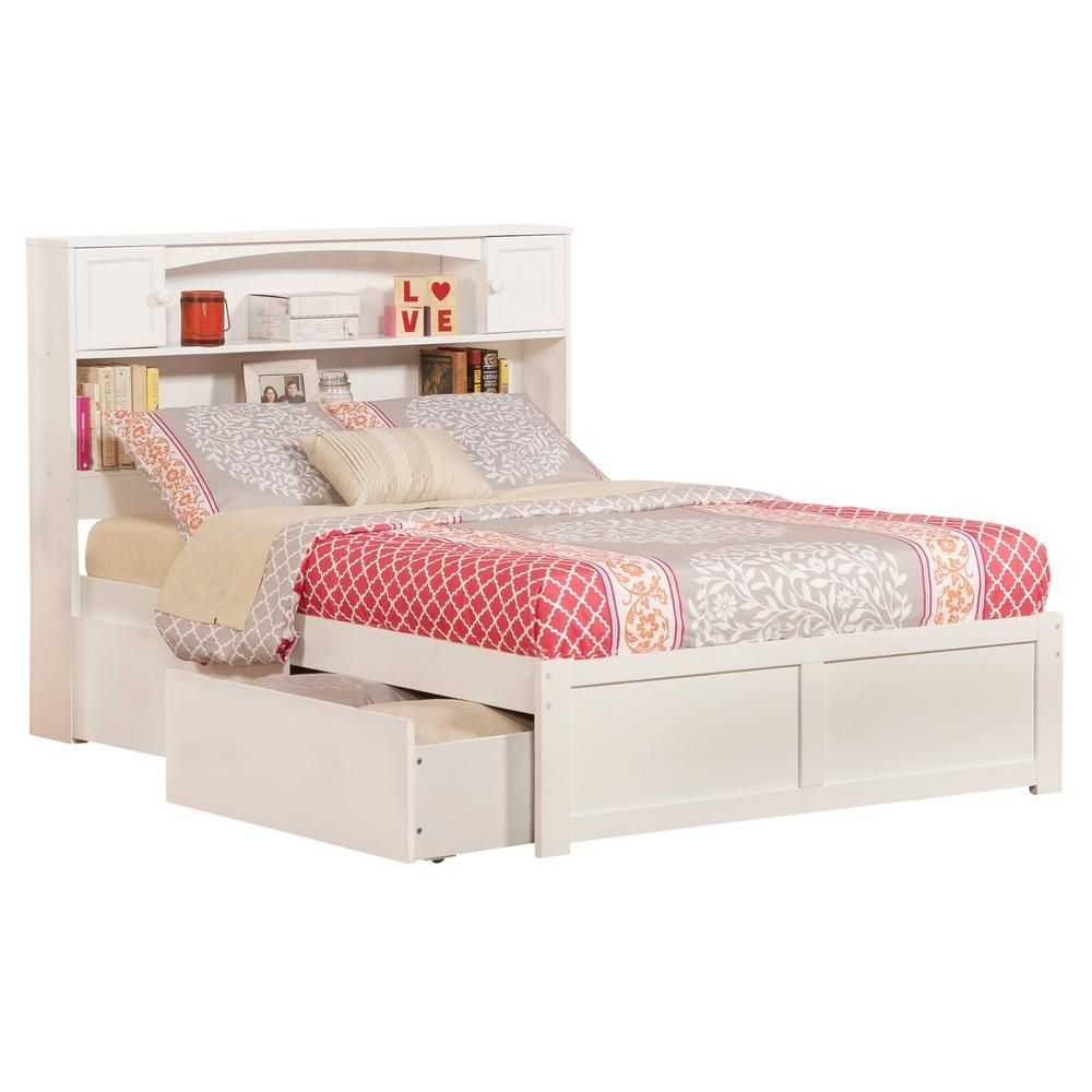 Atlantic Furniture Newport White Full Platform Bed With Flat Panel Foot Board And 2 Urban Bed Drawers Ar8532112 Bed With Drawers Atlantic Furniture Full Platform Bed