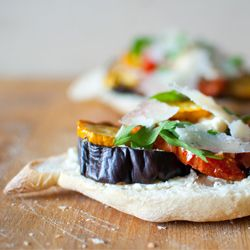 Gorgeous roasted veggies sandwich. Eggplant, zucchini, tomato. And cheese.