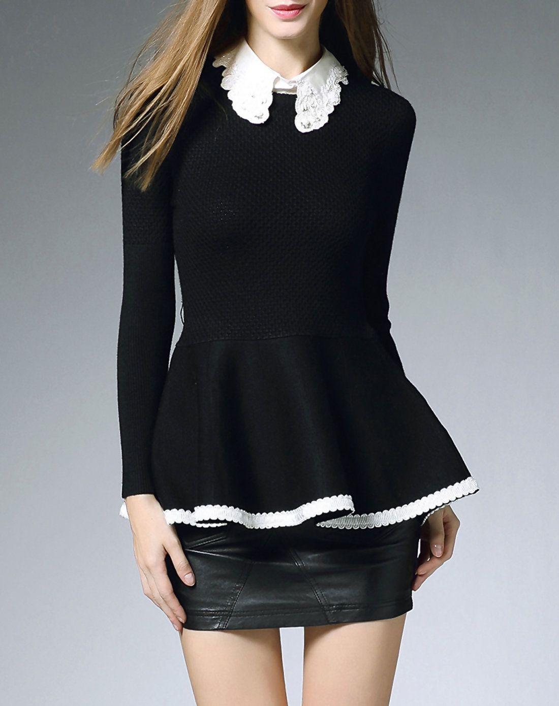 Black embroidery shirt collar long sleeve wool sweater adorewe