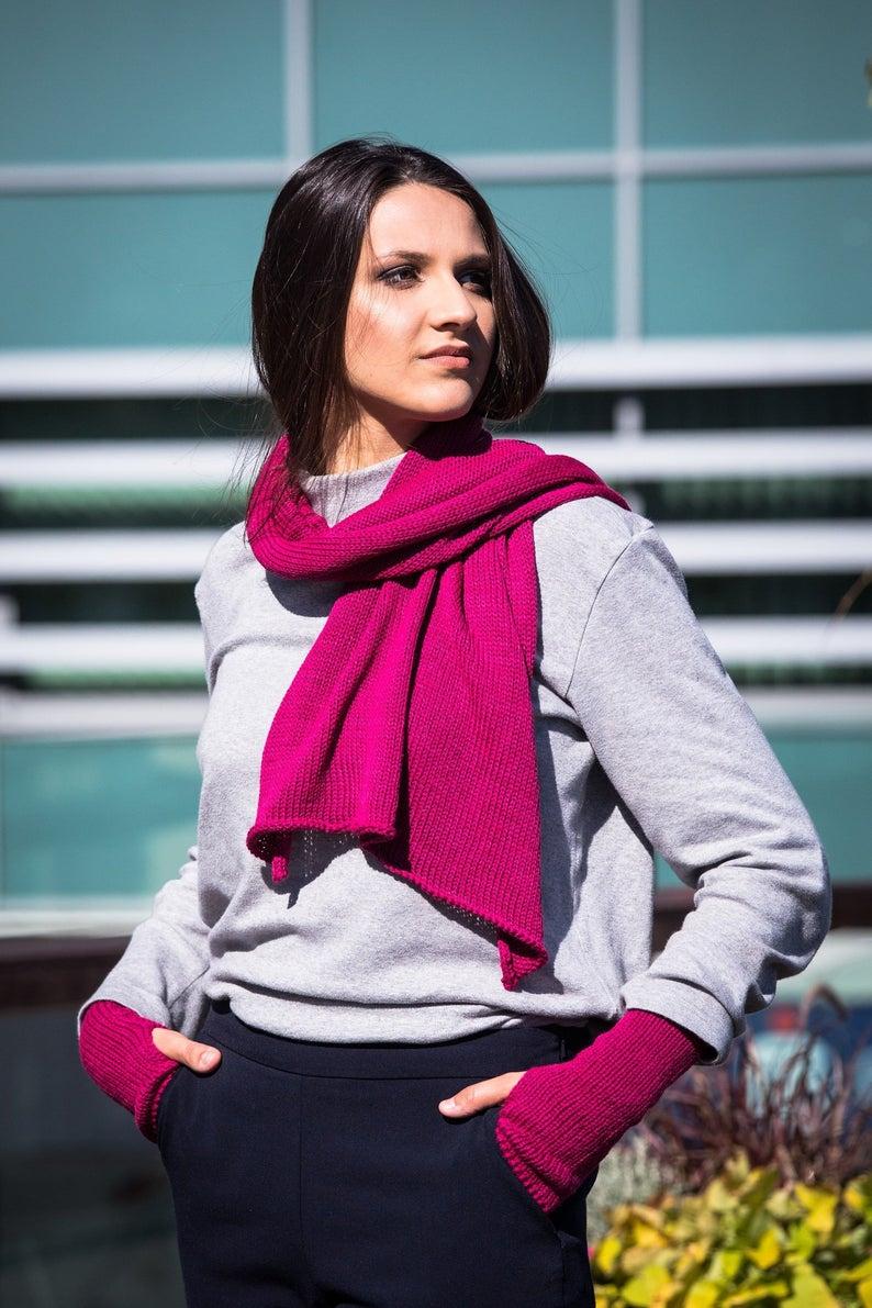 Photo of Warm fuchsia scarf – Handmade scarf, Merino wool scarf, Chunky womens scarf, Long winter scarf, Warm merino wool scarf, Cabel winter scarf