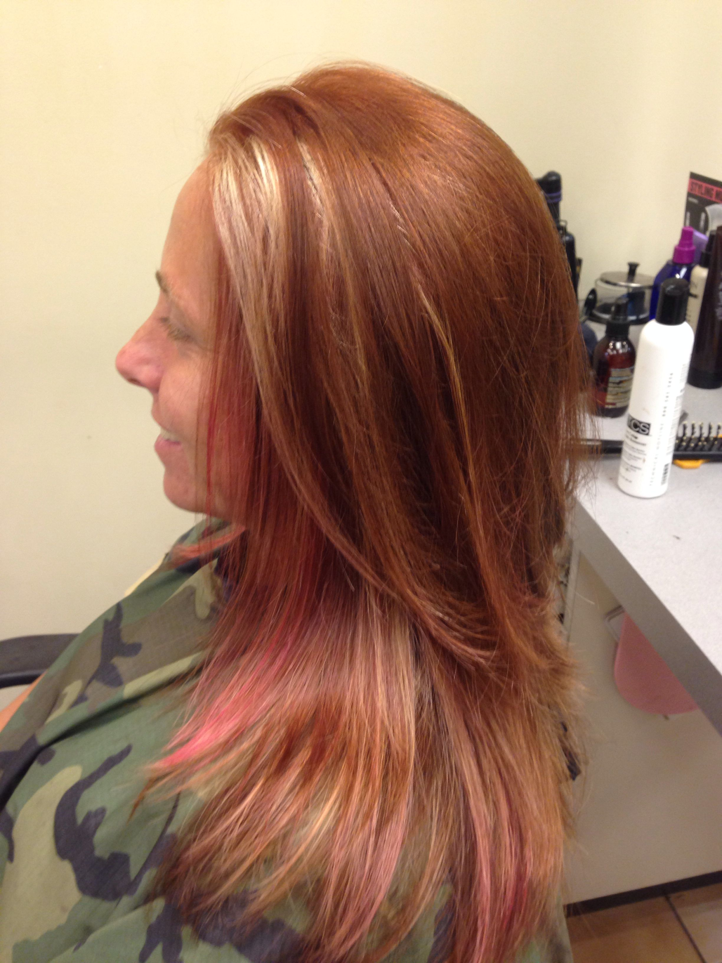 Copper color over pink and blonde highlights. Hair color, hair style ...