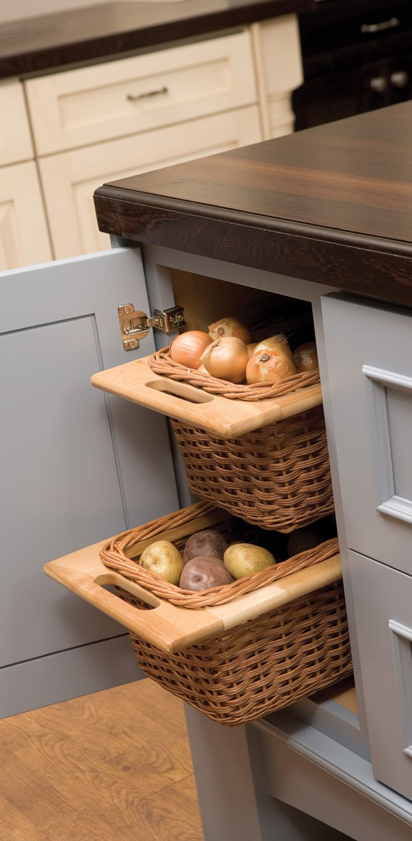 Pull Out Basket Cabinet Storage Open Weave Baskets Offer Popular Storage For Pantry Organiza Kitchen Storage Solutions No Pantry Solutions Kitchen Remodel