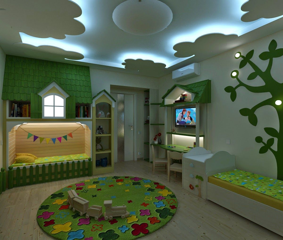 Colorful Kids Room Design: Дизайн интерьера и 3D визуализация