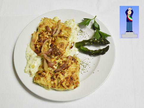 Scatoline d'asparagi con montasio e pancetta croccante