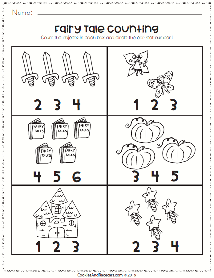 Fairy Tale Counting Worksheet Count The Fairy Tale Objects Then Circle The Correct Number Of Them Great Fo Fairy Tales Preschool Fairy Tales Fairy Tale Math