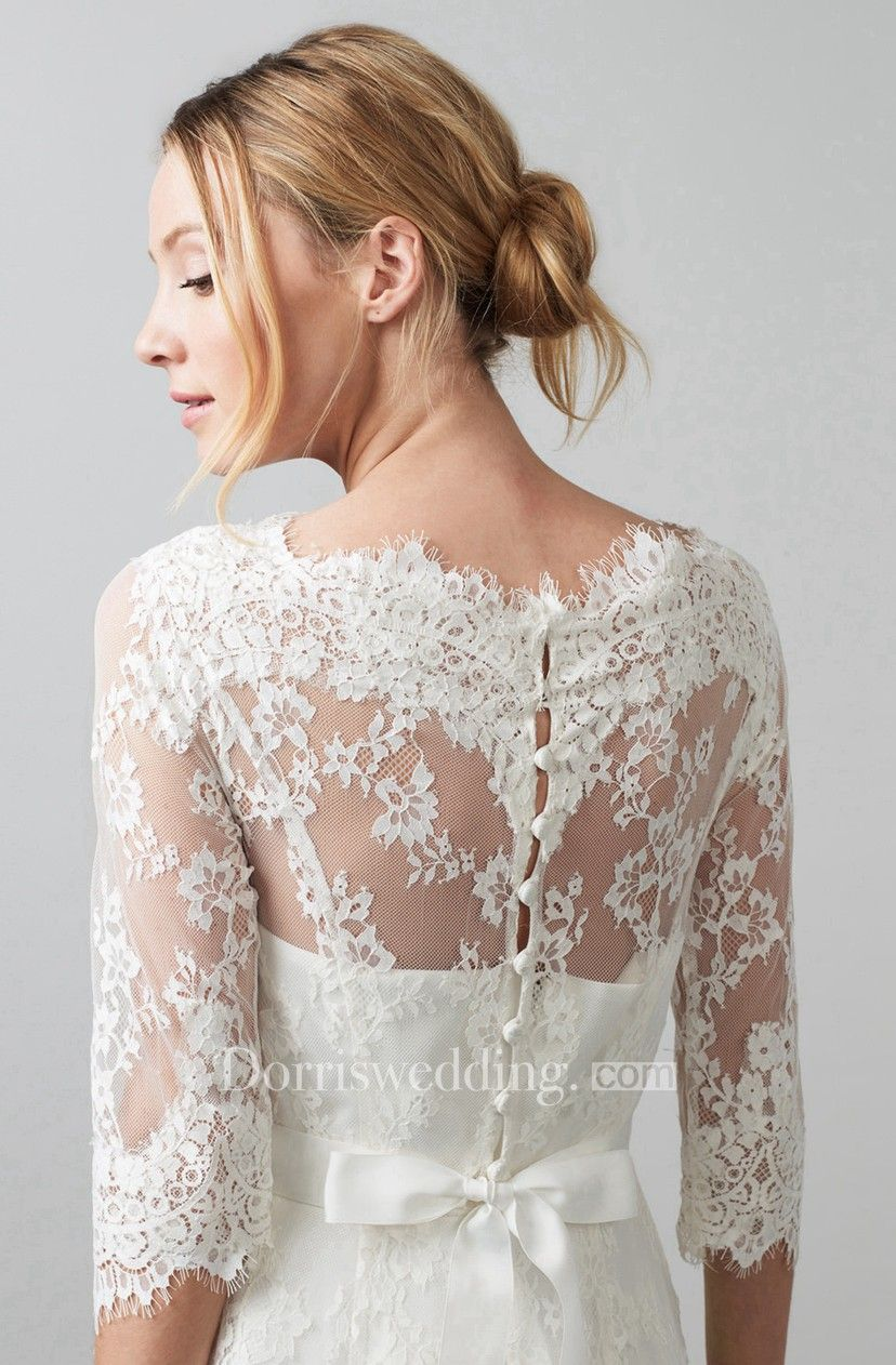 Scoop tealength sleeve appliqued lace wedding dress with bow