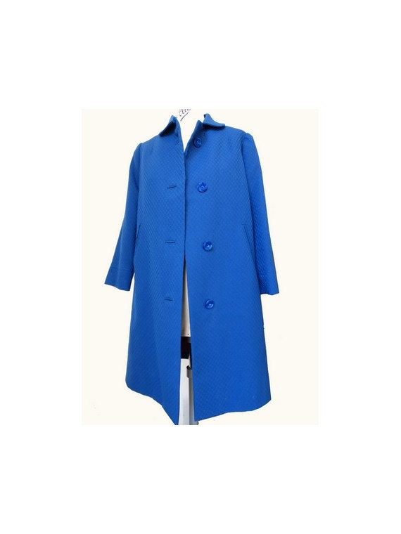 1960s fitted blue COAT // size small by louloufrenchvintage