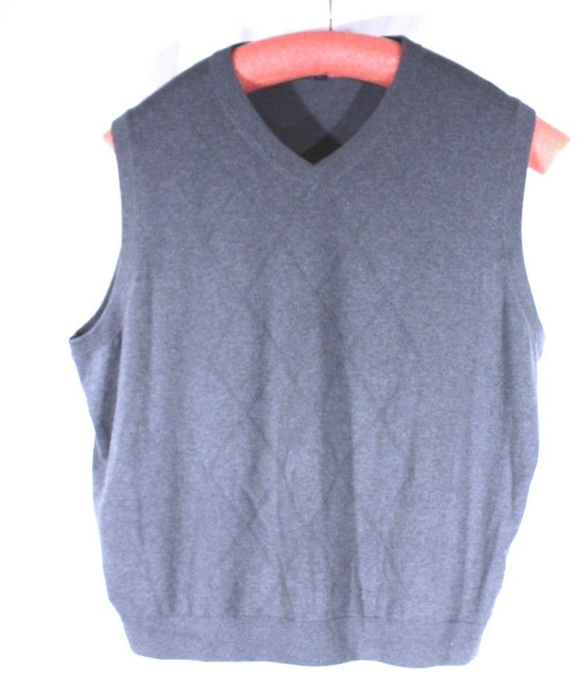Roundtree & Yorke Size 3X Gray Sweater Vest Diamond Pattern Cotton ...