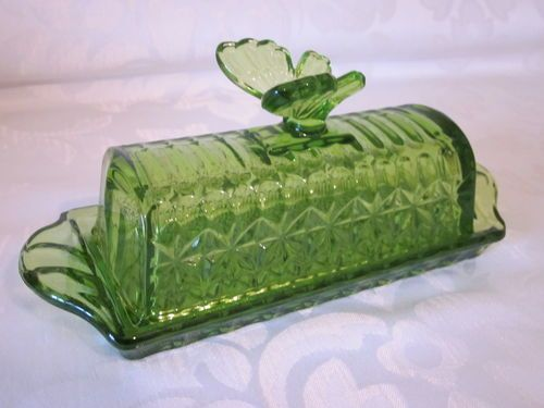 Circle Ware Vintage Inspired Spring Green Butterfly Glass Covered Butter Dish Green Butterfly Spring Green Glass