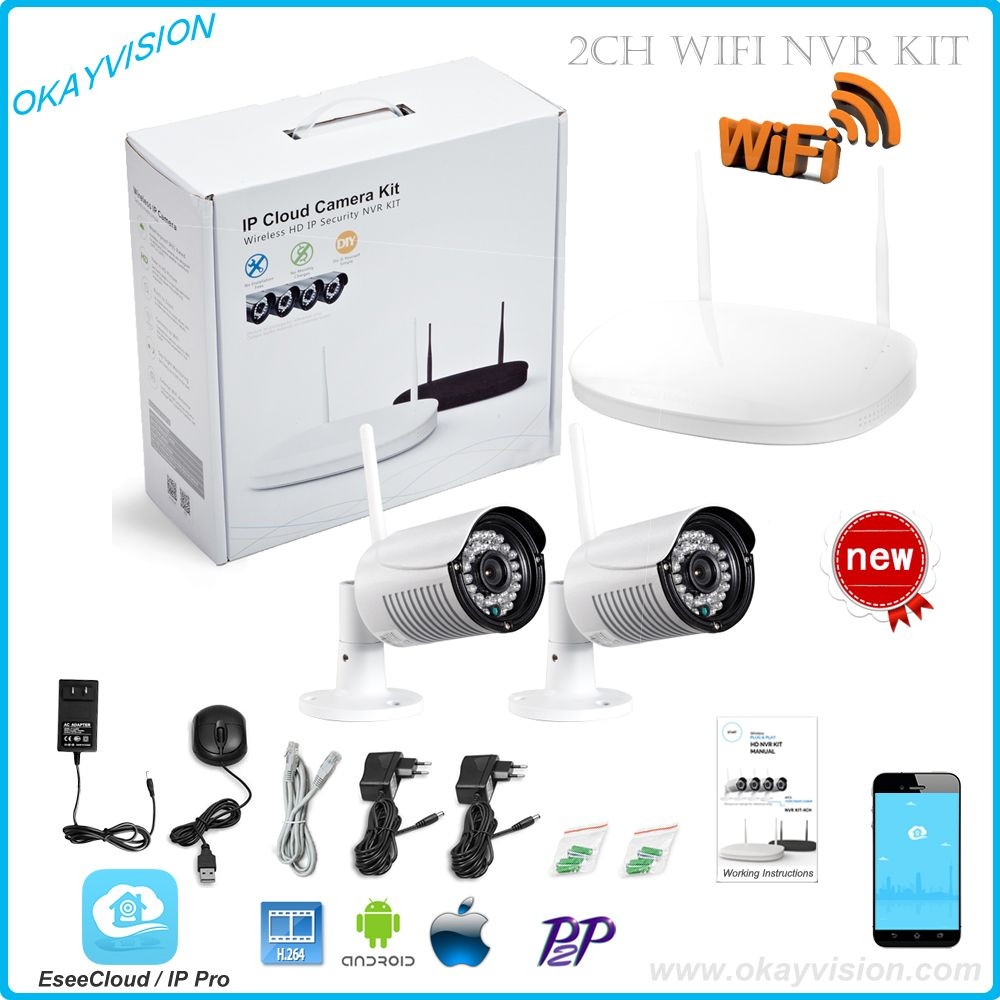 CCTV System 720P 2ch HD Wireless NVR kit Outdoor IR Night Vision ...