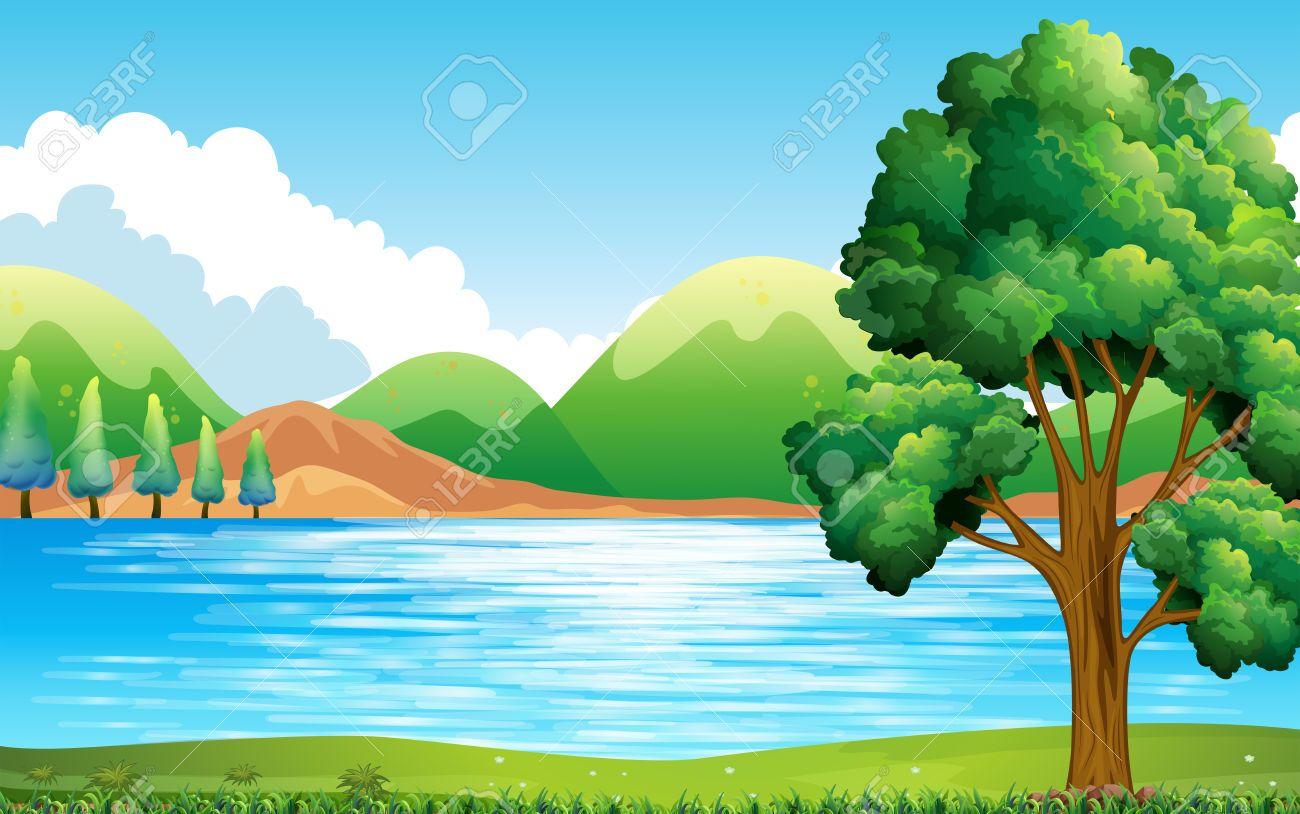 Lake Clipart 42920438 Nature Scene Of Lake And Park Stock Vector Lake Jpg 1300 814 Clip Art Nature Scenes Colorful Landscape