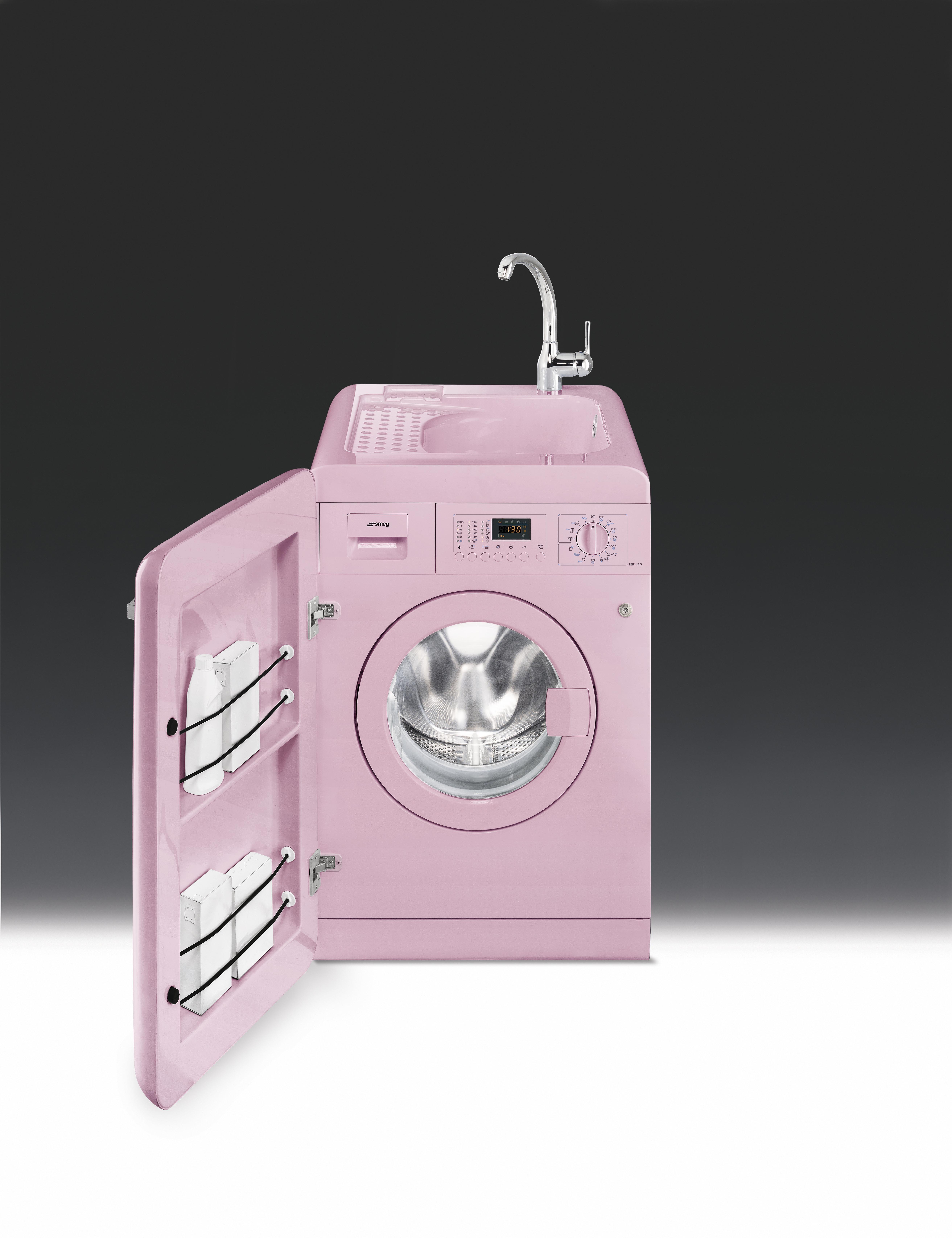 smeg 50 s retro style 60cm washing machine with sink pink energy