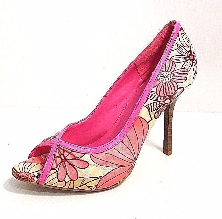 cf0f83478aa CHARLOTTE RUSSE LADIES OPEN TOE PINK   CREAM FLORAL PUMPS 4
