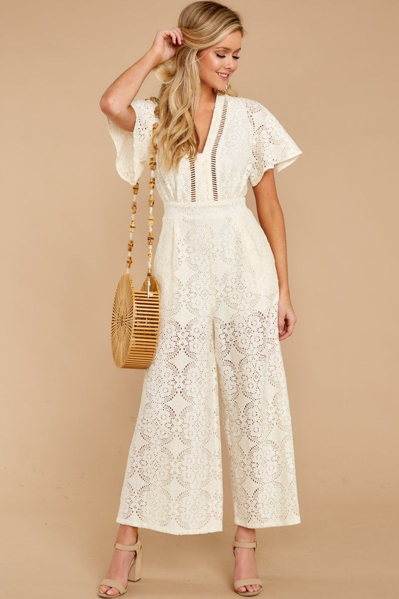 98389ce5b02 Lovely White Lace Jumpsuit - Trendy Wide Leg Jumpsuit - Playsuit -  54 –  Red Dress Boutique
