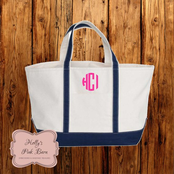 Free Shipping Navy and White Canvas Boat Tote Large Embroidered Personalized Gift