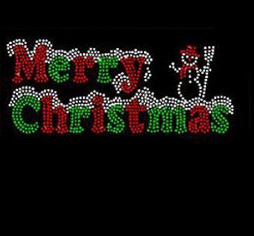 "Hotfix X-Mas Rhinestone Transfer /"" Merry Christmas /"" Iron On"