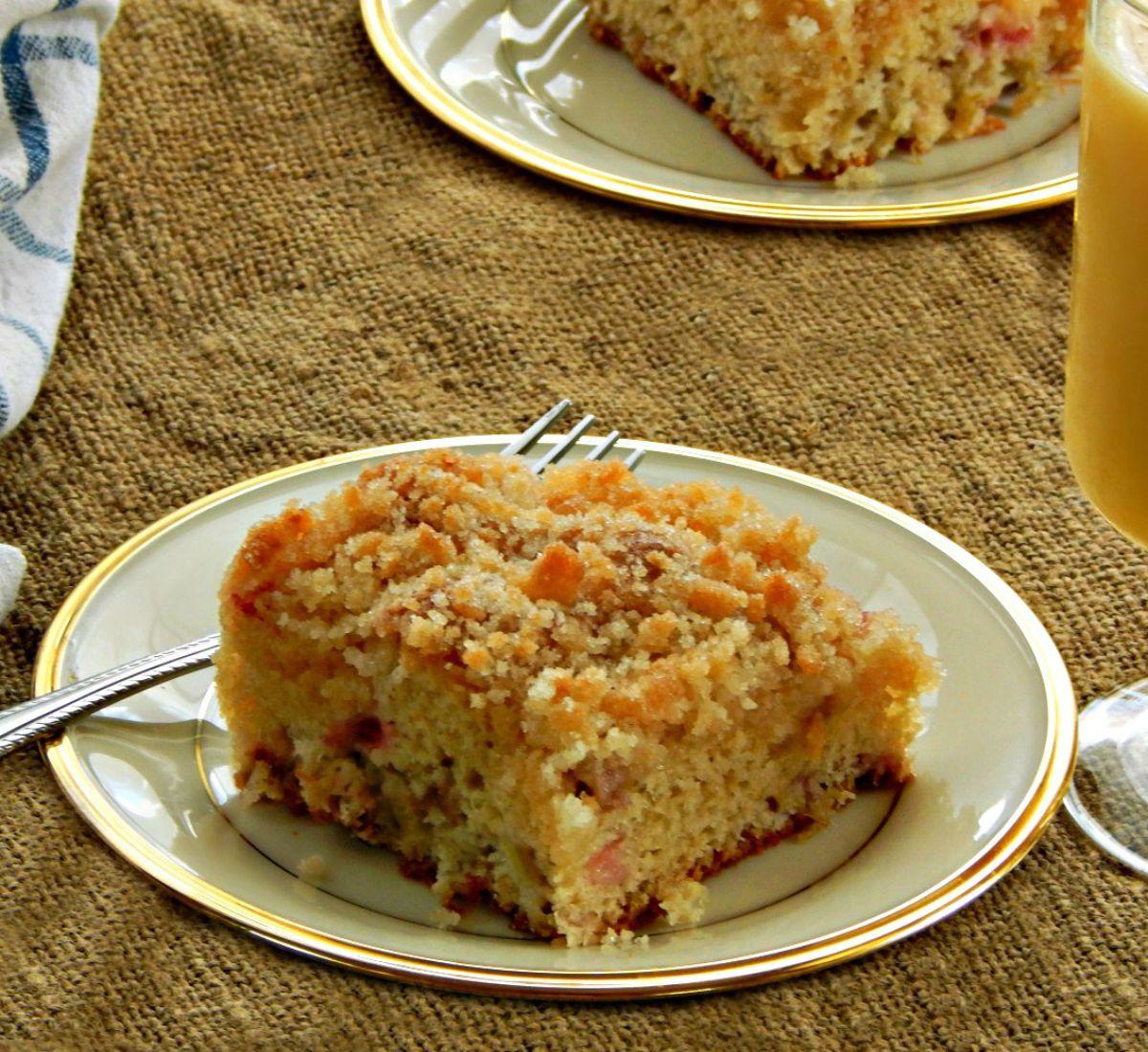 Sour Cream Rhubarb Coffee Cake Recipe In 2020 Rhubarb Coffee Cakes Rhubarb Recipes Rhubarb And Custard