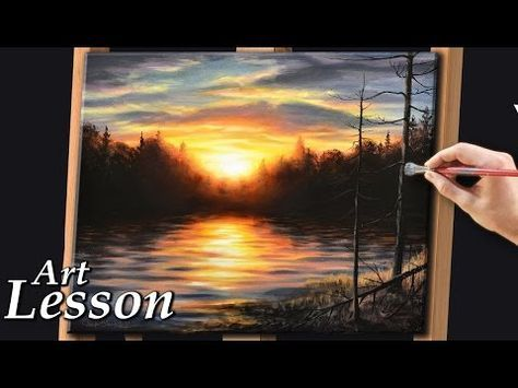 Acrylic Painting Lesson Sunset And Water Landscape Youtube Landscape Painting Tutorial Acrylic Painting Lessons Winter Landscape Painting