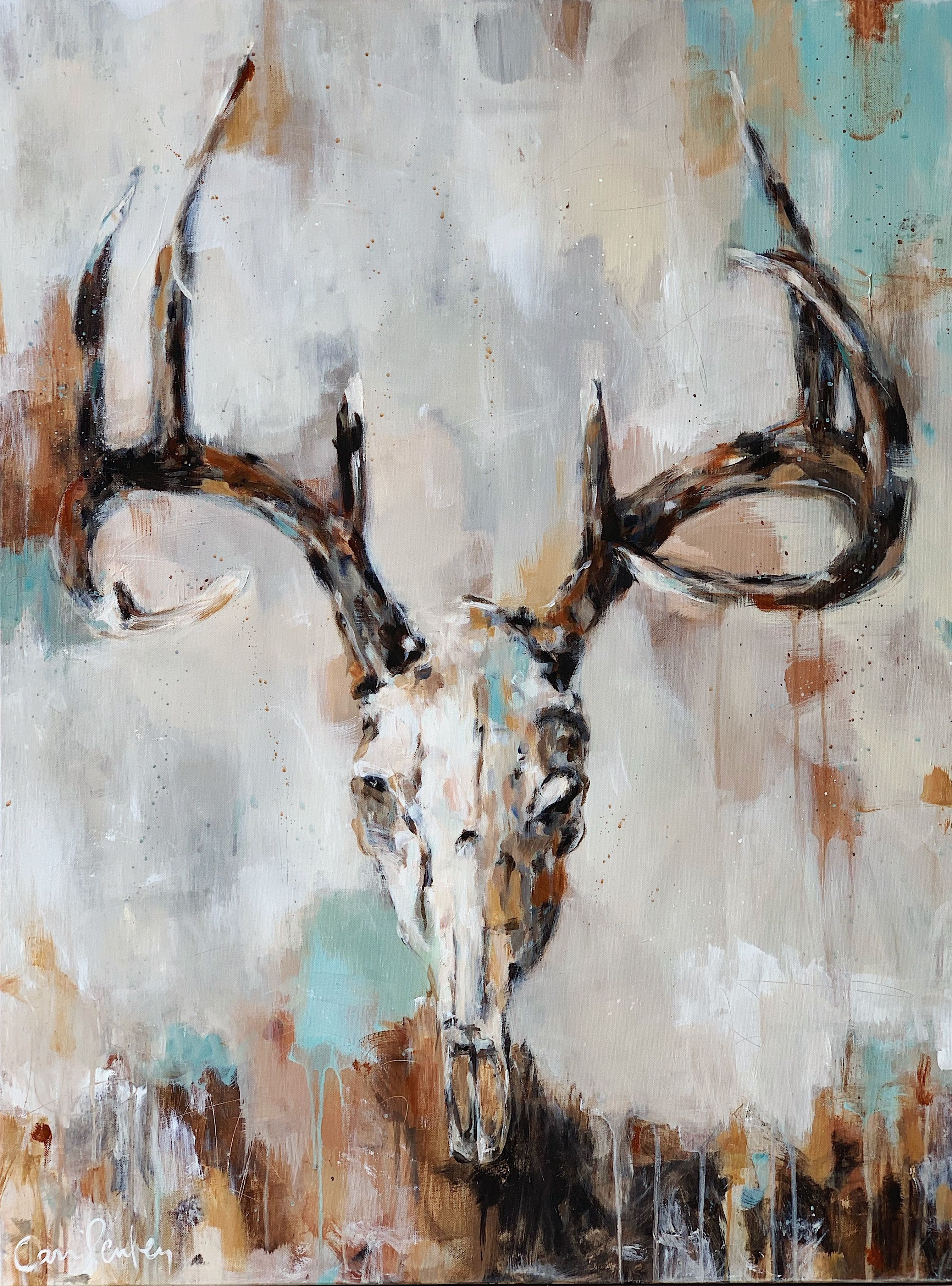 white tail deer skull painting on canvas with resin by
