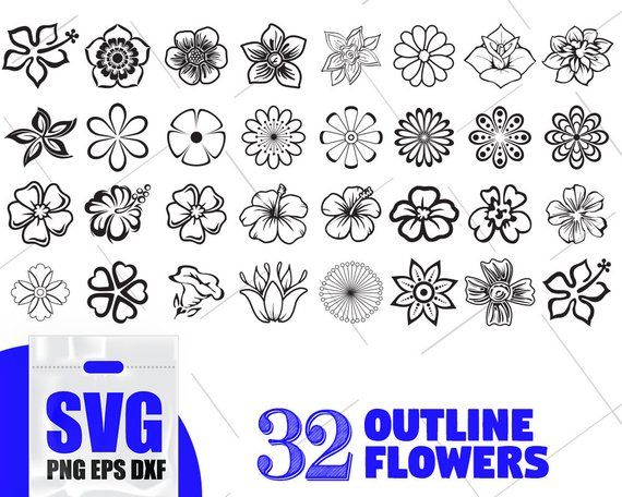Outline flowers bundle svg, paper flower SVG, PDF flower vector