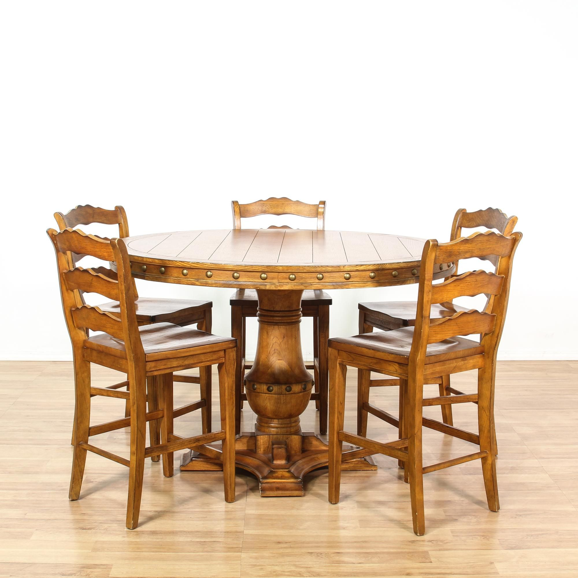 This Tall Dining Set Is Featured In A Solid Wood With A Glossy Rustic Maple Finish This Country Farmhouse Din Farmhouse Dining Set Round Dining Set Dining Set