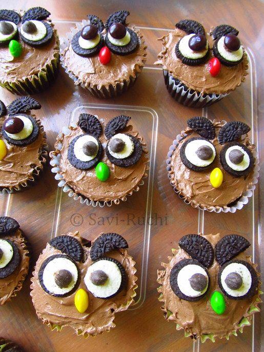 Owl Cupcakes Eggless Owl Cupcakes SaviRuchi SaviRuchi