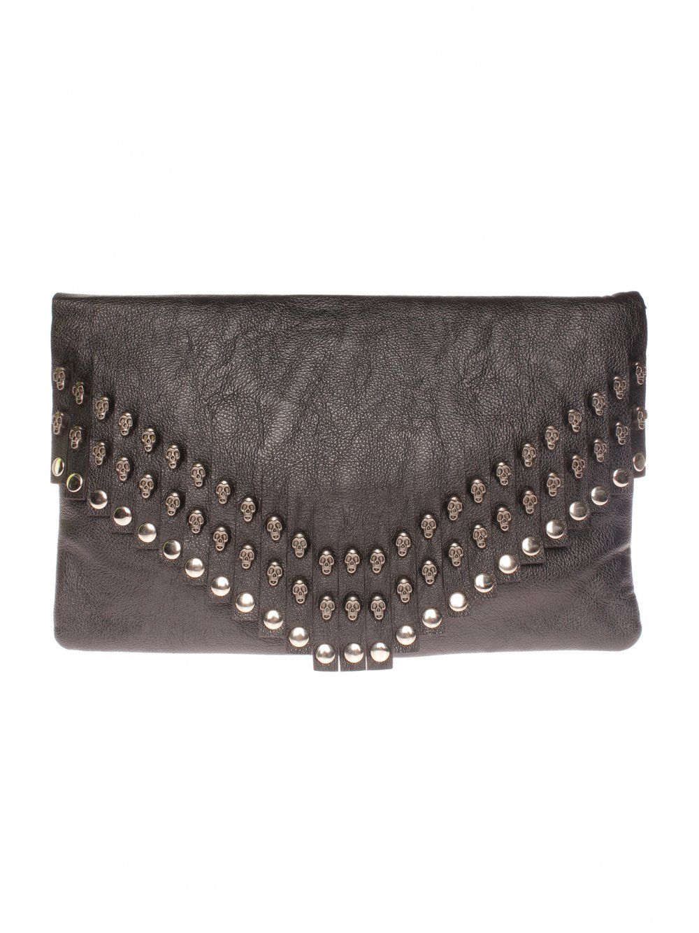 Black Leather Look Fringed Skull Embellished Clutch Bag
