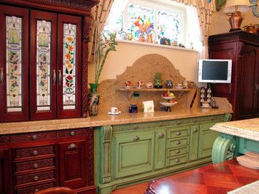 Stained Gl Cabinets And Windows Traditional Kitchen