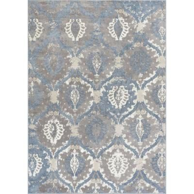Well Woven Pearl Felize Blue 5 ft. x 7 ft. Modern Ikat Trellis Ogee Vintage Distressed Soft Area Rug-PE-54-5 - The Home Depot #setinstains