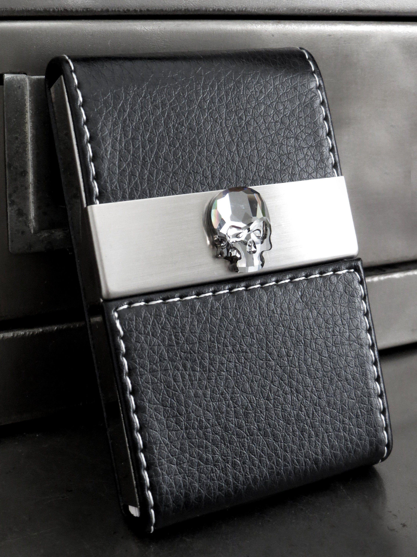 Crystal skull business card holder case black vegan faux