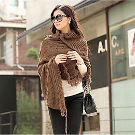 Women's Fring Hem Cable Knit Cloak