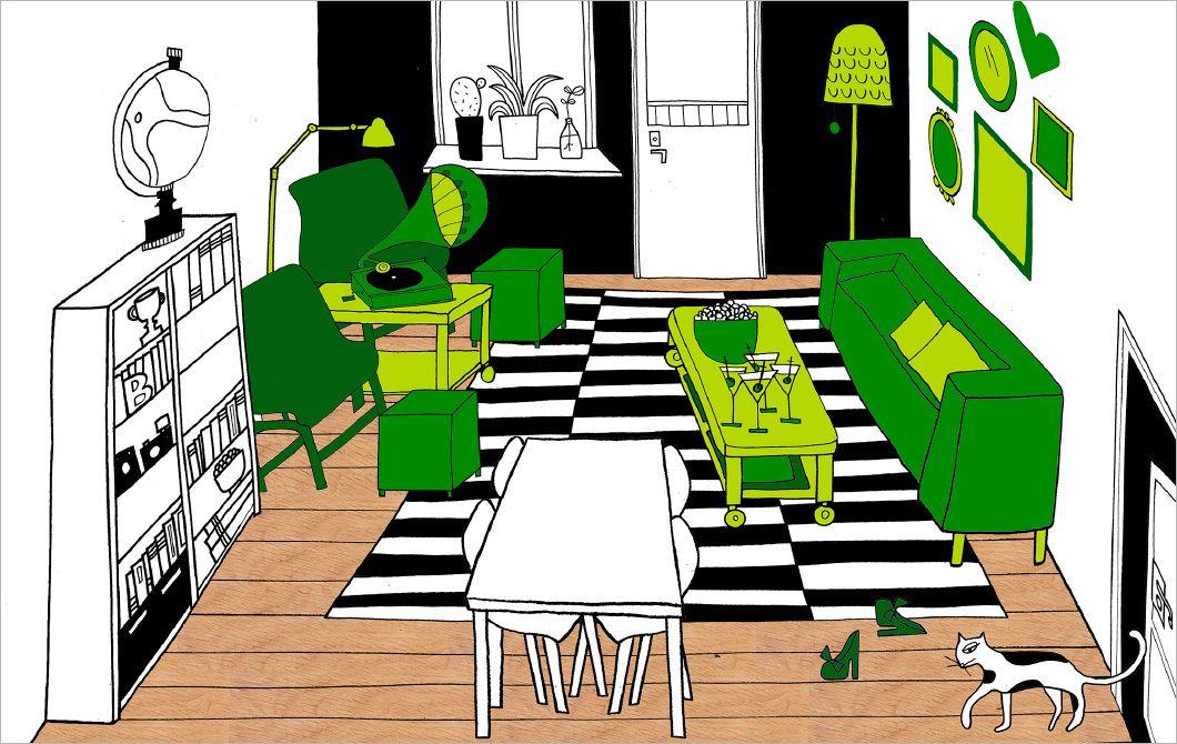 Le séjour ne doit pas nécessairement être organisé autour de la TV. L'illustration montre, avec les éléments verts, comment l'organiser plutôt autour d'un coin salon convivial, en face à face.